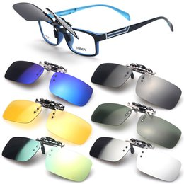 Discount clip flip sunglasses - Unisex Polarized Day Night Vision UV400 Lens Clip-on Flip-up Sunglasses Glasses Oculos