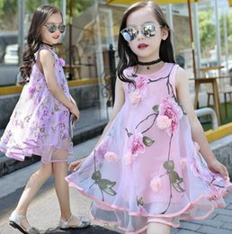 Children Straight Gown Styles Australia - Flower Girls Dress Summer Style Toddlers Teen Children Princess Clothing Fashion Kids Party Clothes Sleeveless Dresses for Girls