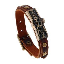 726a3c88e6d Gothic belt buckles online shopping - Steampunk Gothic D Skull Bracelet Mens  Genuine Cowhide Leather Belt