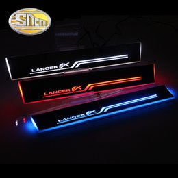 Discount car door sill plates - SNCN Waterproof Acrylic Moving LED Welcome Pedal Scuff Plate Pedal Door Sill Pathway Light For Mitsubishi Lancer 2009 -