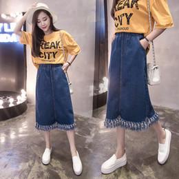 $enCountryForm.capitalKeyWord Canada - Real shot Denim skirt 2018 spring and summer new large size long paragraph tassel skirt