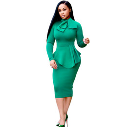 Women Winter Elegant Front Zip Up Pleated Ruched Peplum Long Sleeve Wear to  Work Office Business Party Sheath Dress Plus Size Bodycon Dress 01bcb8752