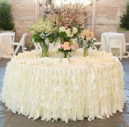 Organza table clOths online shopping - 2018 NEW Romantic Ruffles Table Skirt Handmade Wedding Table Decorations Custom Made Ivory White Organza Cake Table Cloth Ruffles