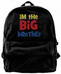 $enCountryForm.capitalKeyWord NZ - I'm The Big Brother Canvas Shoulder Backpack Cute Backpack For Men & Women Teens College Travel Daypack Design handbag Black