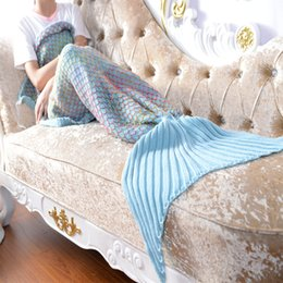 Discount thread crochet pattern - 2018 new color grid 3D three-dimensional fish pattern knit big tail blanket home sofa blanket travel portable blanket co