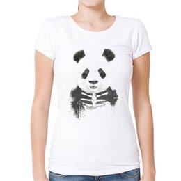women panda tee NZ - Women's Tee Fashion Cool Zombie Panda T Shirt Retro Animal Tees For Women Novelty White Print O - Neck T-shirt Tops Camisas Mujer