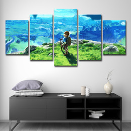 panel anime canvas prints 2019 - HD Printed Canvas Poster Unframed Home Decor Living Room Wall Art 5 Piece Legend Of Zelda Painting Decor Anime Game Pict