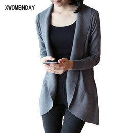 191656c18b7 XWOMENDAY Women Knitted Cardigans Sweater Autumn Wrap Long Sleeve Cotton  Black Work Jacket Coat 2018 Casual Thin Jumper Winter