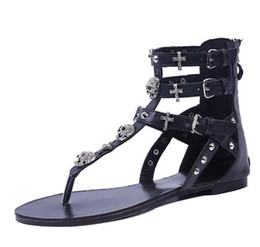063bad83047b33 Woman Fashion Thong Sandals Rhinestone Crosses Skull Rome Buckle Women  Flats For Ladies Rivets Zip Female Shoes