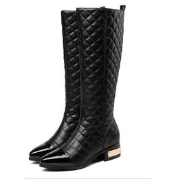 high heeled knight boots UK - Women winter long Knight boot New Arrival Fashion Classic Luxury Soft lambskin original Genuine Leather Sexy Low heel Night club boots