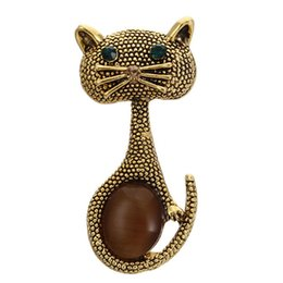 Wholesale Vintage Green Eyes Cats Brooch Corsage Black Opals Animal Brooches for Women Gifts Small Hijab Pins bijouterie