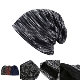Cashmere Beanies Australia - Winter Warm Beanie hat with cashmere 3 colors Stripe Knitted Beanie Hats Beanie Skully Caps Winter Outdoor Warm Hat LA997