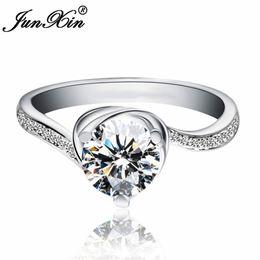 $enCountryForm.capitalKeyWord Australia - JUNXIN Brand Shining Female Round Finger Ring White Gold Filled Jewelry Promise Engagement Rings For Women Best Birthday Gift