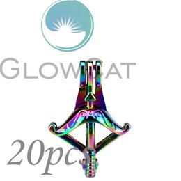 Bow Stones NZ - 20x CC634 Rainbow Colors Bow Arrow Stone Beads Cage Jewelry Making Essential Oil Diffuser Oyster Pearl Cage Locket Pendant