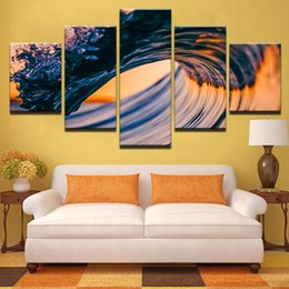 $enCountryForm.capitalKeyWord NZ - Canvas Paintings Wall Art Home Decor Living Room Framework 5 Pieces Sunset Seascape Pictures HD Prints Sea Waves Beach Posters