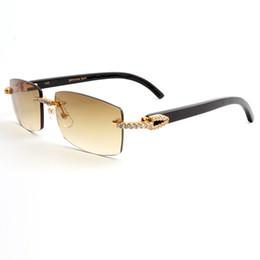 2378f8683b6 Black Buffalo Horns Sunglasses Diamond Frames Rimless Lens Brand Designer  Sunglasses for Men luxury Buffalo Horn glasses with Box CT3524012