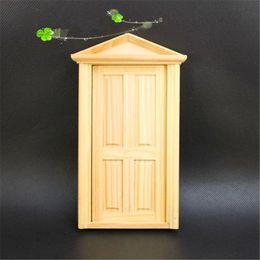 Discount wooden crafts for kids - DIY Handmade Miniature 4 Panel Wooden Classical Exterior Door Frame For Children 1 12 Dollhouse Toys Decoration Craft Ki