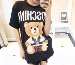Discount teddy bear shirts - European American Popular logo cartoon bear cartoon teddy bear letter printing T-shirt female short-sleeved - size round