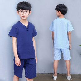 Boy Chinese Suit NZ - Kids Clothing Boys Summer Cotton Linen Set Chinese Style T-shirt+Shorts Big Boys 2 pcs Suit Children Casua