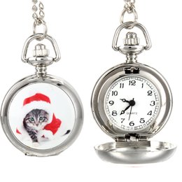 watch pattern girls 2019 - Fashion Vintage Women Quartz Pocket Watch Alloy Cute Cat Pattern Ladies Girls Sweater Chain Necklace Pendant Clock Gifts