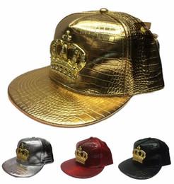 6557c6c80a29a0 2016 Fashion Leather Autumn Brand Metal Crowne Europe Baseball Cap Hat For Men  Women Casual Hip Hop Snapback Caps Sun Hats