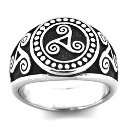 miao rings Canada - FANSSTEEL STAINLESS STEEL punk vintage mens or womens JEWELRY TRIAD TRISKELE IRELAND swirl wind wheel ring FSR14W88