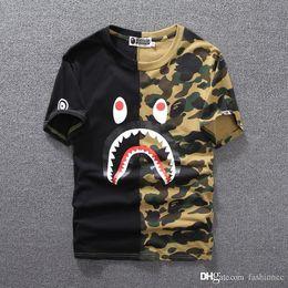 Wholesale striped shirts online – Summer Black Green Shark Camo Stitching T shirt Men Women Crew Neck Cotton Cotton Printed Short Sleeved T shirts Sizes M XL