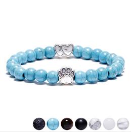 $enCountryForm.capitalKeyWord NZ - Natural Stone Dog Paw Bracelet Black Double Hearts Turquoise Lava Agate Stone Bead Bracelets for Men Women