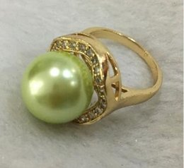 Shipping Free China Ring Pearl Australia - Free Shipping New trend lady's exquisite 18KGP inlay crystal 14mm green shell pearl ring SIZE 6 7 8 9 10