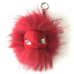 "China 8"" Red Real Genuine Fur Monster big eyes Bug bag Charm Ball Pom pom Keychain Keychain Backpack Tassels Pendant Handbag supplier bug pendant suppliers"