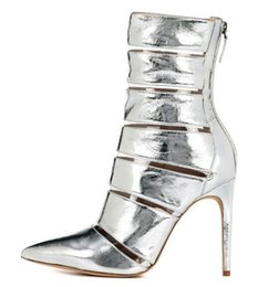 Back Zipper Boot NZ - Silver Ankle Boots PVC & PU Patchwork Pointed Toe Short Boots Women Large Size 13 Back Zipper Shoes Mirror Leather Ladies Stiletto Shoes