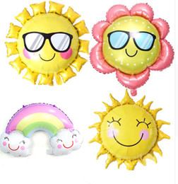 Sunglasses Sunflower Foil Balloon Smile Face Rainbow Sun Flower Helium Balloons Birthday Party Wedding Decoration Air Balloons