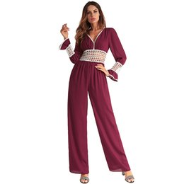 Wholesale wide leg jumpsuit backless resale online – Women Jumpsuit Summer Rompers Sexy Hollow Out Solid Long Sleeve Elegant Backless Casual Ladies Bodysuit Clothing Wide Leg