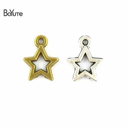 $enCountryForm.capitalKeyWord NZ - BoYuTe (100 Pieces  Lot) 13*10MM 4 Colors Zinc Alloy Materials Vintage Style Star Pendant Charms Diy Necklace Jewelry Making Accessories