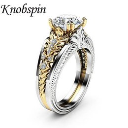 Wholesale 2018 Hot Sale European Fashion Jewelry Gold Color Zircon Women Ring Fashion Simple Wedding Band Finger Rings US Size bague