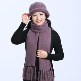 Rabbit Fur Scarves Caps Australia - 2 Pieces Set New Winter Rabbit Fur Hat And Scarf For Women Thick Caps Female Winter Casual Solid Color Knitted Hat Mother