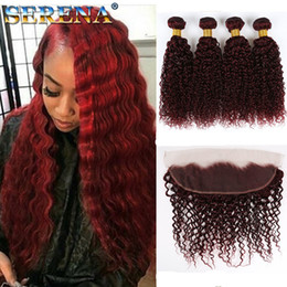 Discount bresilienne hair - 99j burgundy brazilian kinky curly virgin hair with closure brazilian hair weave bundle with Frontal meches bresilienne