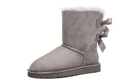 $enCountryForm.capitalKeyWord UK - Gray 2018-19 Top winter Australia Classic snow fashion YOUGG boots tall real leather Baileyi bowknot women's bailey two bow Knee womens shoe