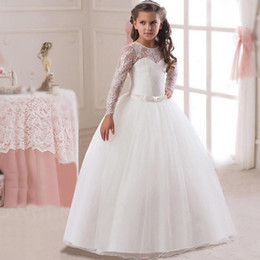 e780826310 White Winter Wedding Flower Girls Dresses Australia - 3-14Y Kids Girls Long  White Lace