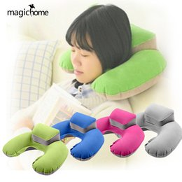 Discount travel neck pillows for airplanes - U Shape Inflatable Travel Pillows For Airplanes Portable PVC Folding Car Neck Pillow Cushion For Sleeping New Comfortabl