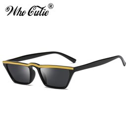 China WHO CUTIE 2018 Small Rectangle Sunglasses Women Vintage Skinny Narrow Leopard Frame Chic Cat Eye Sun Glasses Shades Oculos 514 suppliers