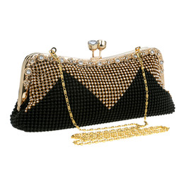 Wholesale SEKUSWomen Clutch Bags Beaded Evening Bags Pearl Diamonds Golden Handbags Wedding Bridesmaids Bridal Party Feast Bag With Chains