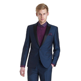 Costumes Navy UK - Latest Coat Pants Designs 2018 Costume Mariage Homme Men Suit Wedding Groom Tuxedos Navy Blue Mens Blazer Peaked Lapel 2 Pieces