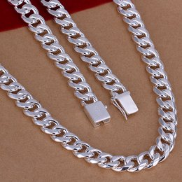 925 sterling silver chains 24inch UK - N011 2017 925 sterling silver jewelry 10mm square buckle side 24inch men necklace statement fashion vitage pendant silver chain