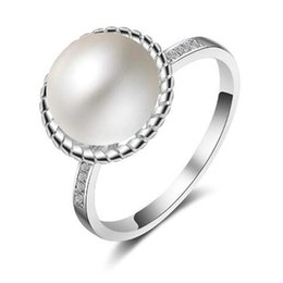 9mm Pearl Size Australia - whole saleTop Quality Elegant 9mm White Freshwater Pearl Crystal Ring 925 Sterling Silver Austrian Crystal Jewelry US Size 7 Wholesale