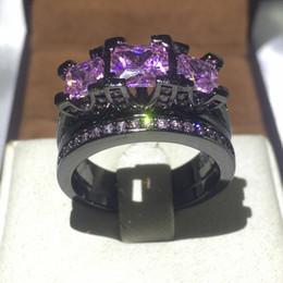 $enCountryForm.capitalKeyWord NZ - 2016 Brand Design black gold filled 925 Sterling silver ring 8ct 5A zircon cz Engagement Wedding Band Ring Bridal set for women