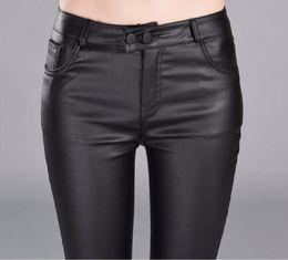 ac1f2f33dda8 Autumn Winter women leather pants High Waisted elastic shiny trousers slim  female pencil leather pants women pantalon femme S18101602