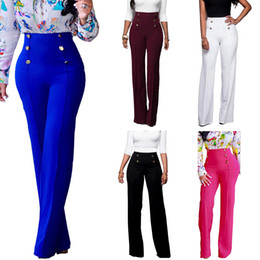 $enCountryForm.capitalKeyWord Canada - Casual fashion 2018 button high waist wide leg pants women solid color oversized loose palazzo trousers flare pants S-2XL
