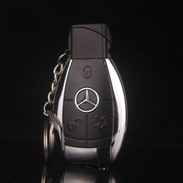 Flashlight giFts online shopping - Fashion Design Creative Car Model Windproof Lighter Flame gas key chain Men cigarette lighter Key buckle With LED Flashlight gift lighter