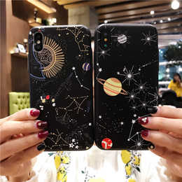$enCountryForm.capitalKeyWord NZ - Glossy Space Planet Stars Phone Case For iPhone X Luxury Glass Hard Back Cover For iPhone 8 7 6 6s Plus Cases Coque